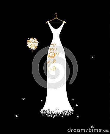 Bianco di vestito da cerimonia nuziale sui ganci con il mazzo floreale