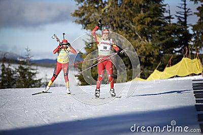 Biathlon Redaktionell Arkivbild