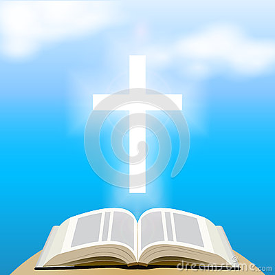 Free Bible And Shining Cross Over Blue Sky. Stock Photos - 44830153