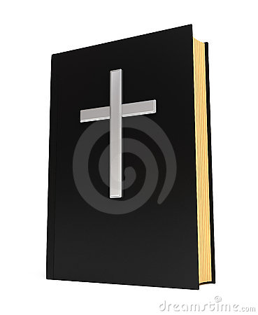 Bible book and silver cross