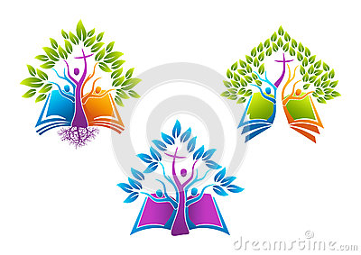 Bible christian tree logo, book root icon holy spirit family ,people church vector symbol design Vector Illustration