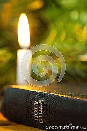 Bible and Christmas Candle