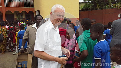 Bible distribution in a Nigerian school Editorial Stock Photo
