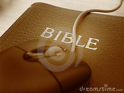 Bible and mouse - close up
