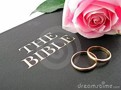 Bible, Wedding Rings and Rose
