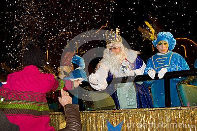 Biblical Magi parade in Spain Editorial Stock Image