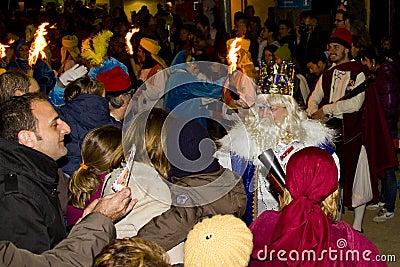 Biblical Magi parade in Spain Editorial Stock Image