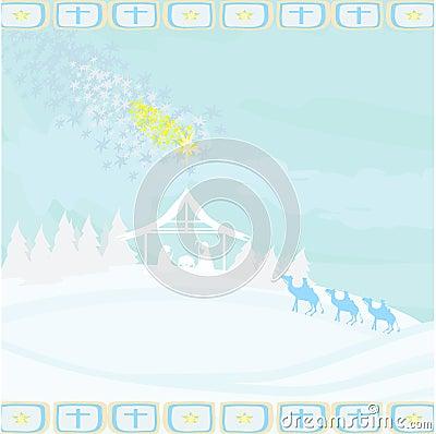 Biblical scene - birth of Jesus in Bethlehem.