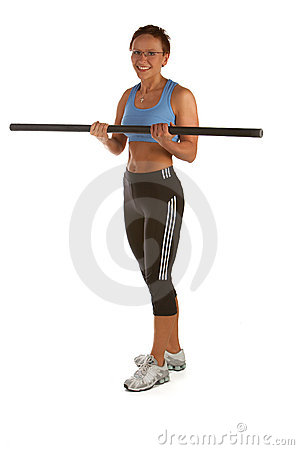 Biceps Curl - Young woman showing different exercises.