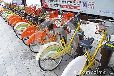 Biciclette pubbliche a Nanhai Fotografia Editoriale