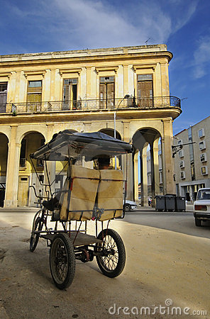 Bicitaxi parked in Havana street, 9 JULY, 2010. Editorial Stock Image