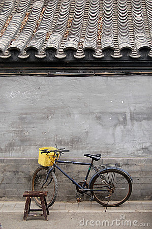 Free Bicycle And Stool In A Hutong Royalty Free Stock Photography - 5353647