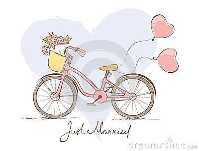 Bicycle for the bride Vector Illustration