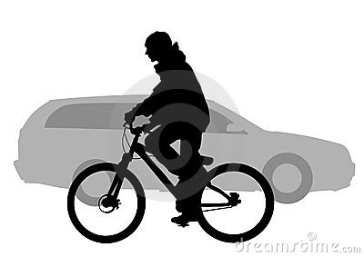 Bicycle and car