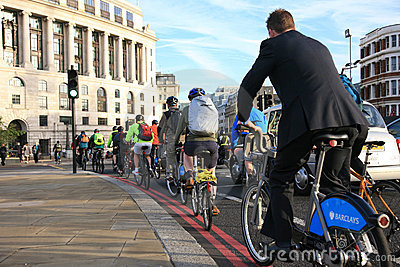 Bicycle commuters in London Editorial Stock Image