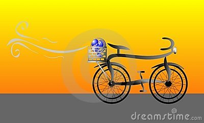 Bicycle with fan in carrier illustration