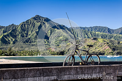 Bicycle and fishing rod, Hanalei Bay, Kauai