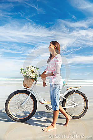 Bicycle flower woman