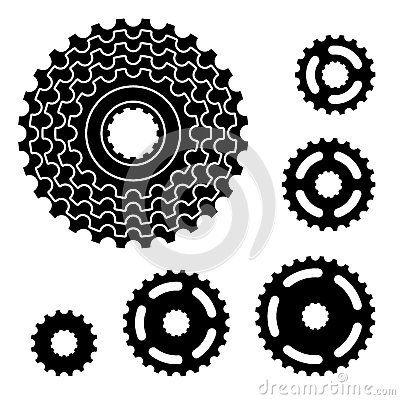 Bicycle gear cogwheel sprocket symbols