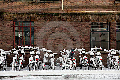 Bicycle in a heavy snow