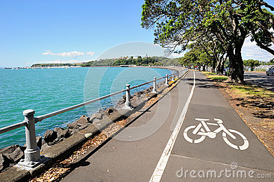 Bicycle lane in Auckland, New Zealand