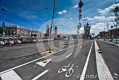 Bicycle lane, Barcelona Editorial Photo