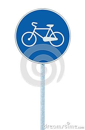 Free Bicycle Lane Sign Indicating Bike Route, Large Blue Round Isolated Roadside Traffic Signage On Pole Post Stock Photo - 61089000