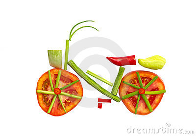 Bicycle made from vegetables .