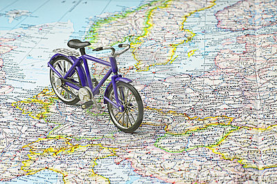 Bicycle on map of Europe