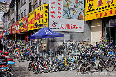 Bicycle market, HoHot, northern China Editorial Stock Photo