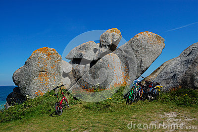 Bicycle parked on brittany coast, france