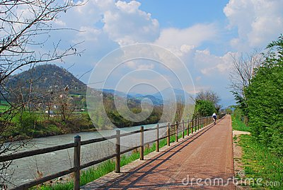 Bicycle path along small river.