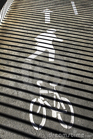 Bicycle And Pedestrian Directions Sign