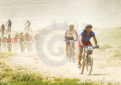 Bicycle race for the semi-desert of The Bardenas Editorial Stock Photo