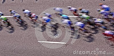 Bicycle racers from rooftop