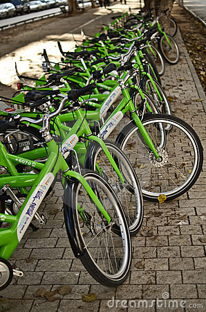Bicycle rent Editorial Stock Image