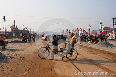 Bicycle rickshaw turns in the camp at Sangam Editorial Stock Image