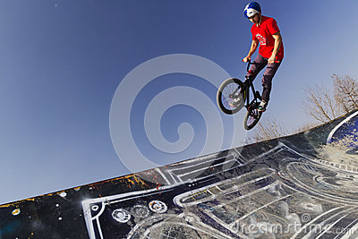 Young bmx bicycle rider Editorial Stock Photo