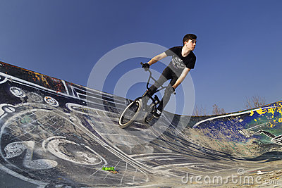 Young bmx bicycle rider Editorial Stock Image