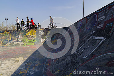 Young bmx bicycle riders Editorial Stock Photo