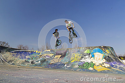 Young bmx bicycle riders Editorial Photo