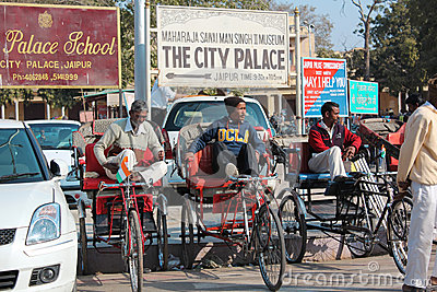 Bicycle taxi in india Editorial Photography