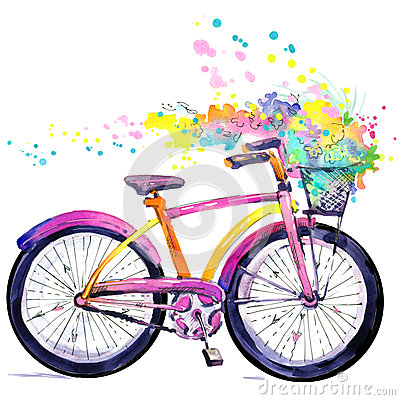 Bicycle. Watercolor bicycle and flower background. Hello Spring watercolor text. Stock Photo