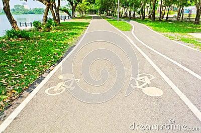 Bicycle way in garden