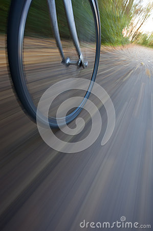 Bicycle wheel with motion blur