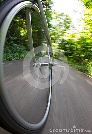 Bicycle wheel in motion