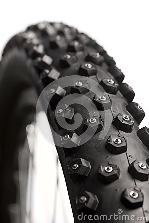 Free Bicycle Wheel With Winter Tyre Stock Photography - 33143182