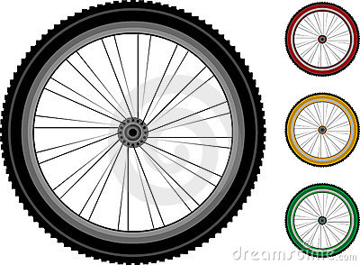 Bicycle wheels. set of the detailed wheels