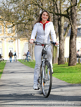 bicycle and woman
