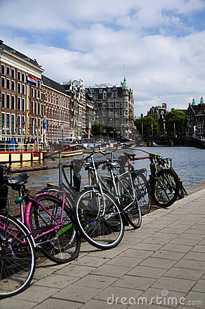 Bicycles on the canal amsterdam holland